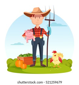 Farmer with pitchfork and pork, vegetables and hen. Field with rural man near watermelon and pumpkin, village or countryside human, redneck or cartoon character, gardener person.