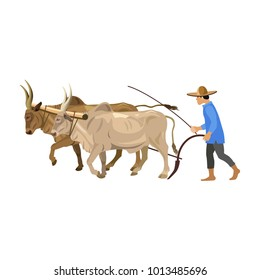 Farmer plowing field with a couple of zebu. Vector illustration isolated on the white background