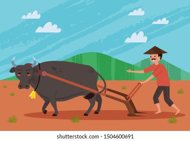 A farmer plowing a field using a buffalo, Plowing a field is an activity carried out by the farmer to make the farm area loose before planting.