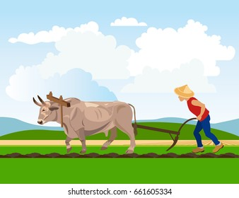 Farmer plowing paddy field with ox. Vector illustration