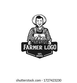 Farmer portrait, organic products logo. Agriculture, farming vector.