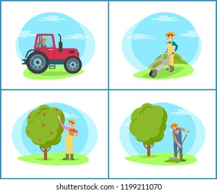 Farmer with rake working on field isolated set vector. Tractor agricultural machinery driving on land. Woman picking apples from fruit tree in pannier