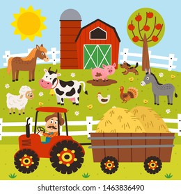 farmer rides a tractor and farm animals stand in the barnyard - vector illustration, eps