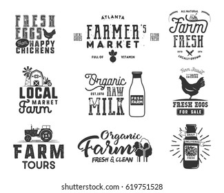 Farmer s Market, organic food, milk and eggs badges set. Fresh and Local product logo designs. Typographic eco farm insignia in monochrome style. Isolated on white background. Vector patches.