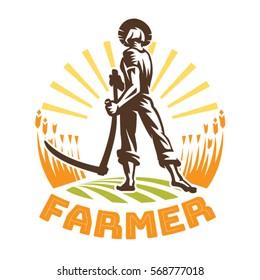 A farmer with a scythe in a field. Farmer emblem