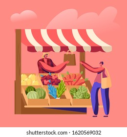 Farmer Sell Fresh Fruit Vegetable Products to Woman Customer at Counter Desk. Outdoors Farm Market, Purchaser Character Buying Ecological Healthy Organic Local Food. Cartoon Flat Vector Illustration