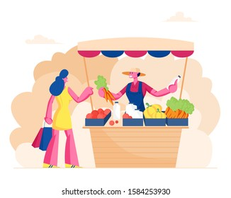 Farmer Sell Fresh Vegetables and Dairy Products to Woman Customer at Counter Desk. Outdoors Farm Market, Purchaser Character Buying Ecological Healthy Organic Food. Cartoon Flat Vector Illustration
