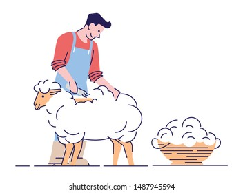 Farmer shearing sheep flat vector character. Wool production. Livestock farming, animal husbandry concept with outline. Male shearer cutting merino wool cartoon illustration isolated on white