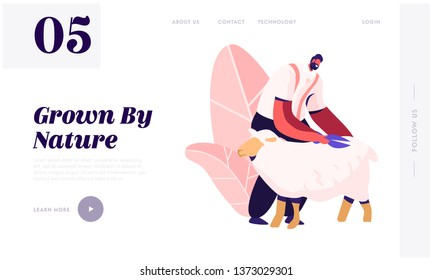 Farmer Shearing Sheep for Wool in Barn. Sheepshearer Character at Working Process on Farm. Shearer Man Removing Sheep Wool. Website Landing Page, Web Page. Cartoon Flat Vector Illustration, Banner