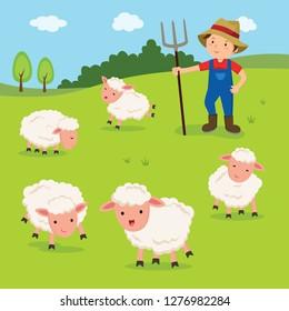 Farmer and sheep vector