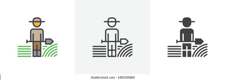 Farmer with shovel icon. Line, glyph and filled outline colorful version, Gardener with spade outline and filled vector sign. Symbol, logo illustration. Different style icons set. Vector graphics