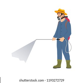 Farmer spraying chemicals vector icon isolated character. Man in protective suit and respirator splashing pesticide from cylinder with hose on shoulders