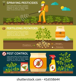 Farmer spraying pesticides on potato field. Fertilizing potatoes. Colorado potato beetle. Pest control. Vector illustration.