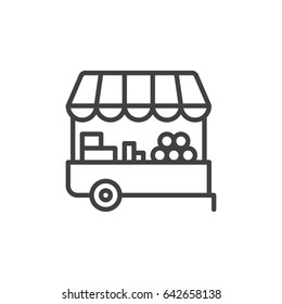 Farmer stall line icon, outline vector sign, linear style pictogram isolated on white. Symbol, logo illustration. Editable stroke. Pixel perfect