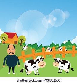 farmer stand with his farm cow cattle eat grass in green grass field cartoon vector drawing illustration