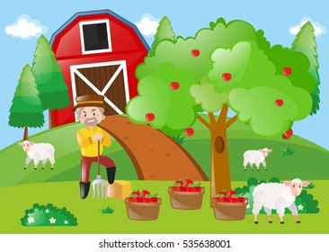 Farmer standing by the apple tree in the farm illustration