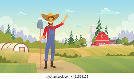 Farmer Standing Show Farm, Farmland Field Countryside Landscape Flat Vector Illustration