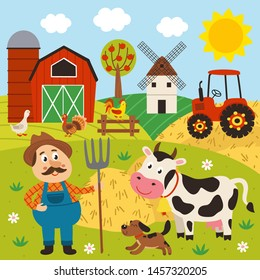 a farmer stands in a barnyard with a cow and a dog - vector illustration, eps