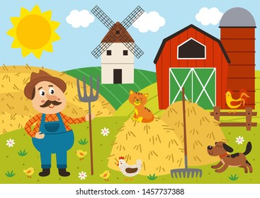 farmer stands in the barnyard with pitchfork and pets - vector illustration, eps