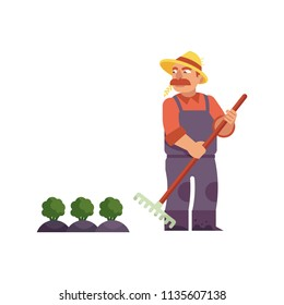 Farmer in straw hat with rake cares for cabbage or broccoli - cute male farm character doing agricultural work for eco-friendly and organic food concept in isolated flat vector illustration.