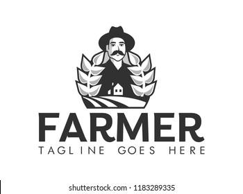 farmer stylized portrait, organic products logo template