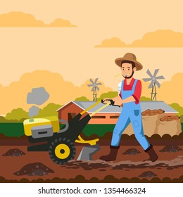 Farmer with Tiller Machine Vector Illustration. Gardener Plowing Soil in Field. Farming Equipment. Agricultural Cultivation Technology. Potatoes in Burlap Sacks. Shed, Barn, Windmills on Horizon