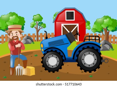 Farmer and tractor in the field illustration