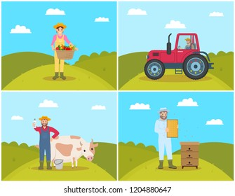 Farmer and tractor on field, agricultural machinery and workers set. Woman with pannier and vegetables veggies, beekeeper holding honeycombs vector