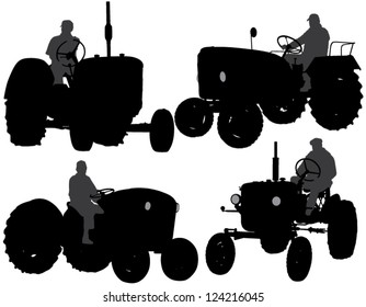 Farmer Tractor Silhouette on white background