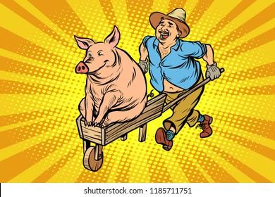 A farmer is transporting a pig on a wooden wheelbarrow. Chinese new year symbol. Comic cartoon pop art retro vector illustration