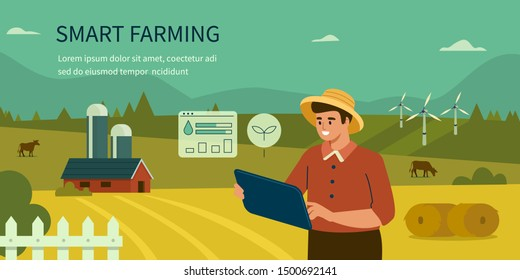 Farmer Using Tablet for Control and Monitoring on the Field. Man Character Analysis Data on his Farm. Smart Farming, IOT, and Smart Agriculture Technology Concept. Flat Cartoon Vector Illustration.
