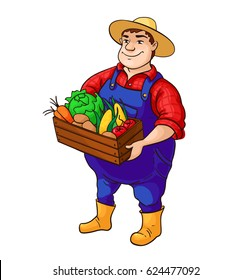 Farmer vector character. Cartoon cute fat man in hat holding box of vegetables in hands. Isolated  colorful worker illustration. Great for logo, label, farm market poster