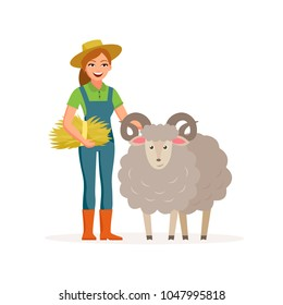 Farmer - woman with a sheep smiling with hay. Farming concept vector illustration in flat design. Happy farmer and farm animal cartoon characters isolated on white background.