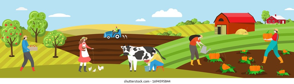 Farmer work on farm field vector illustration. Cartoon flat people working on farmland countryside landscape, man woman characters milk cow, feed chickens, plant vegetables. Agriculture background