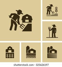 Farmer working in field Vector Farm icon