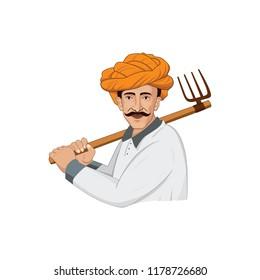 Farmer working on field vector Logo Illustration character design