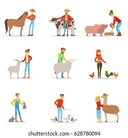 Farmers breeding livestock. Farm profession worker people, farm animals. Set of colorful cartoon detailed vector Illustrations