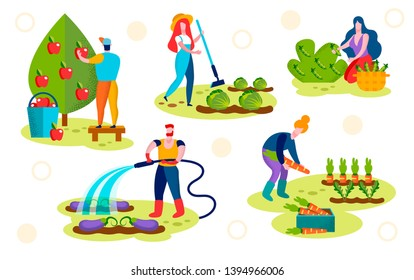 Farmers Caring of Plants Set. Male Characters Watering Eggplants, Pick Ripe Apples, Female Harvesting Vegetables in Garden. Horticulture, Organic Ecological Nutrition. Cartoon Flat Vector Illustration