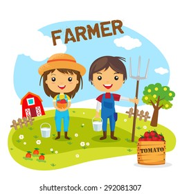 Farmers Cartoon working in farms,  gardener characters, Farm fresh