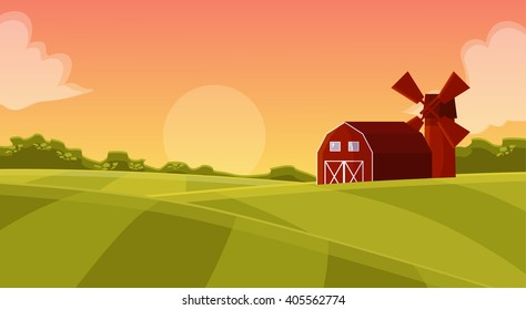 farmers field to mill on agricultural land. natural landscape with green field, sunset with a red hangar cartoon illustration, vector