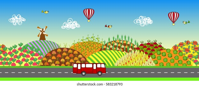 Farmers field seamless landscape with road and bus. Agricultural land. Cartoon farming background. Also may be used for animation