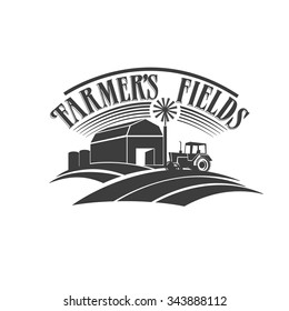 Farmer's fields retro black and white label