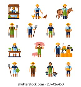 Farmers and gardeners flat agriculture icons set isolated vector illustration