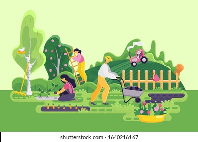Farmers and gardeners in the garden. Woman sits vegetables, standing on the stairs. Worker carries cart with land or potatoes. Spring landscape. Gardening panorama. Flat style. Vector illustration.