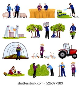 Farmers and gardeners work moments harvesting  fruits raising cattle and trimming plants flat icons set isolated vector illustration