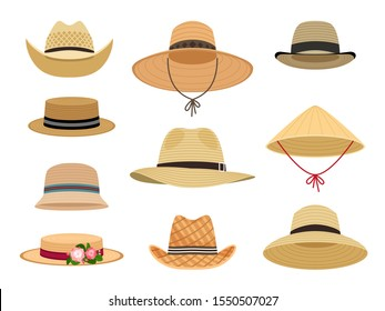Farmers gardening hats. Asian japan hat and and female straw cap, yellow beach head accessory and summer traditional agriculture rural headdress isolated on white background