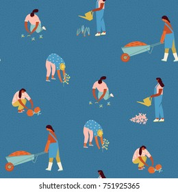 Farmers girls growing vegetables and flowers on the farm illustration in vector. Gardening seamless pattern.