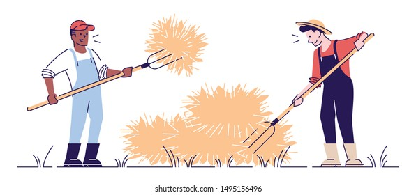 Farmers hay making with pitchfork flat vector character. Autumn harvest concept with outline. African american farm worker making haystacks. Agricultural work. Hay harvesting cartoon illustration