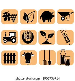 farmers icons, agriculture. Icon	on white background