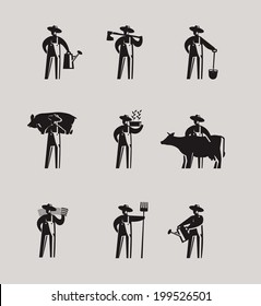 Farmers icons. Vector format
